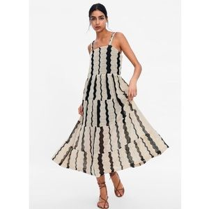 Zara striped textured weave maxi dress M ecru new